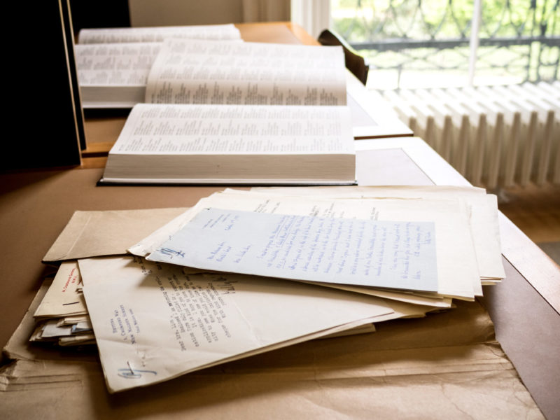 Documents on a desk in the Wiener Holocaust Library.