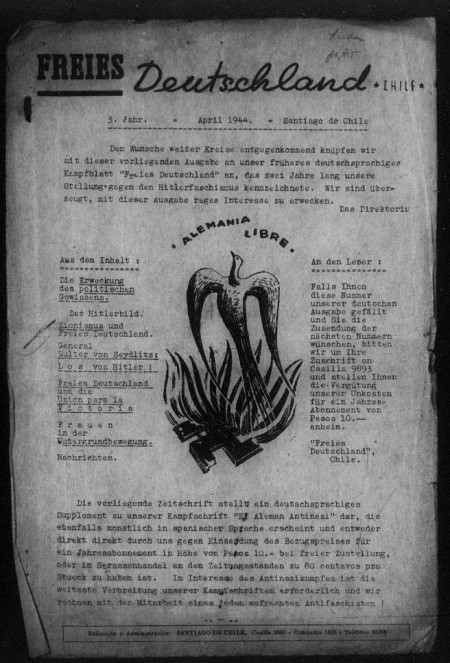 Cover for the Alemania Libre movement pamphlet, Chilean edition, April 1944.