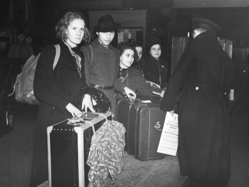 Jewish refugee girls arriving at customs in Great Britain