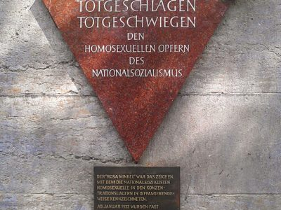 Red Triangle memorial plaque dedicated to homosexual victims of the Holocaust