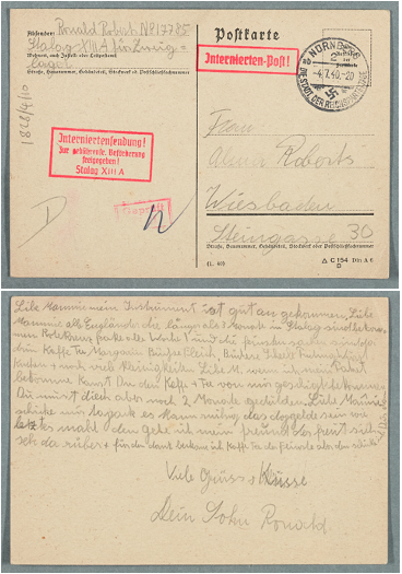 Image of post-card sent by Ronald Roberts to his mother Alma from an internment camp in Germany that he was held in during the Second World War.