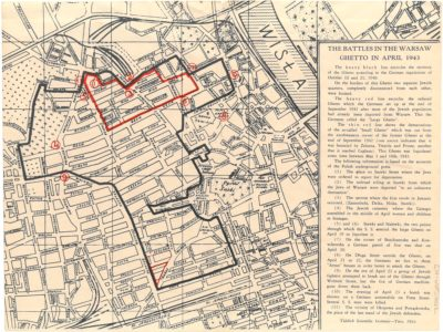 Map showing battles during the Warsaw Ghetto Uprising, April 1943