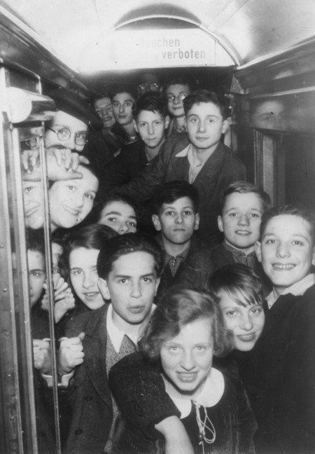 Image of children on a train