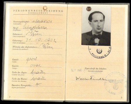 Image of Walter Finkler's German passport.