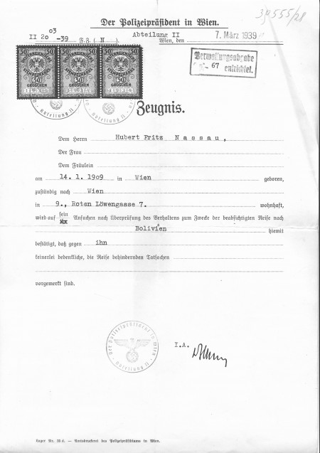 Image of clearance certificate