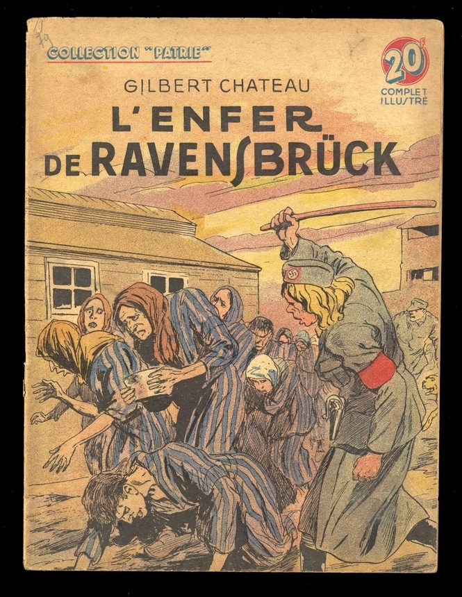 Cover of LEnfer de Ravensbruck shows female concentration camp inmates being flogged by a female Nazi officer