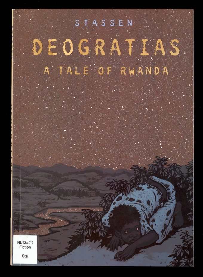 Cover of Deogratias: A Tale of Rwanda showing a small child crouching in the darkness
