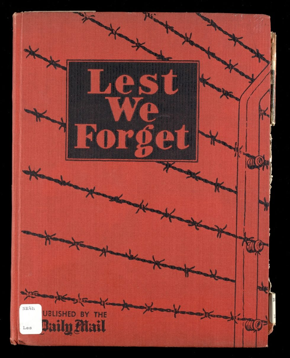 Cover of Lest We Forget showing barbed wire on a plain red background