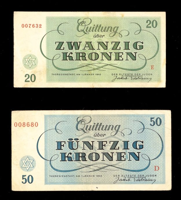 Green 20 Kronen and blue 50 Kronen currency from Theresienstadt