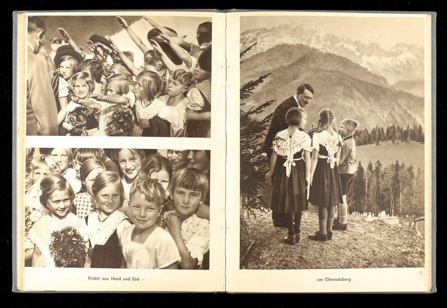 Page from Jugend Um Hitler, a propaganda publication showing Adolf Hitler with German children