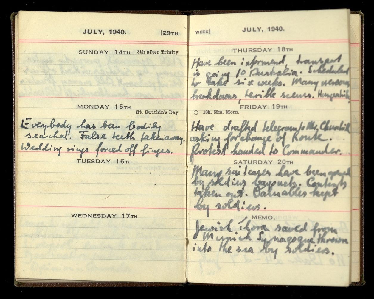 Diary open to July 1940 containing handwritten entries
