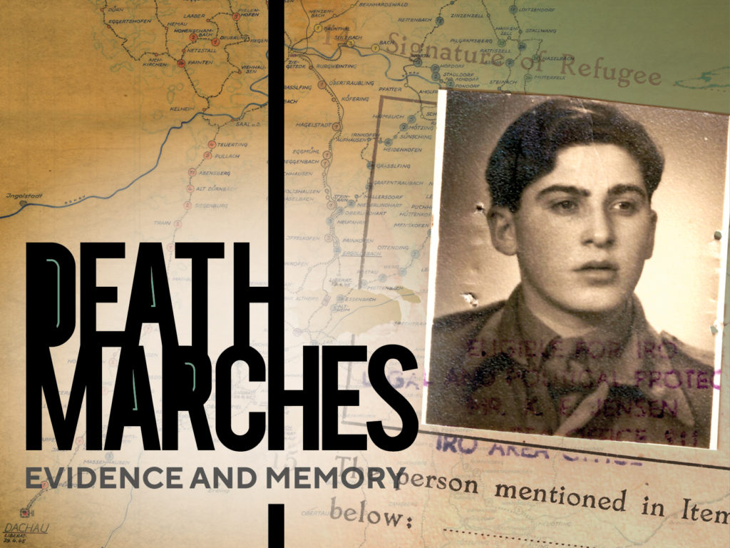 Graphic image advertising Death Marches exhibition
