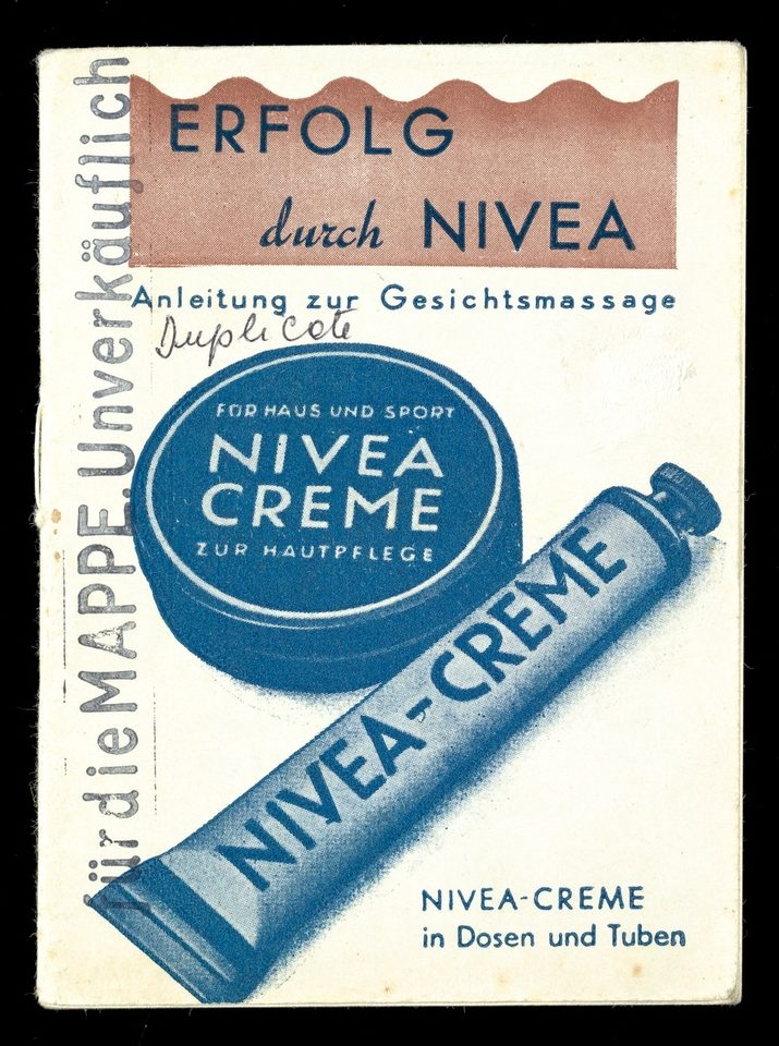Pamphlet showing tub and tube of Nivea Creme