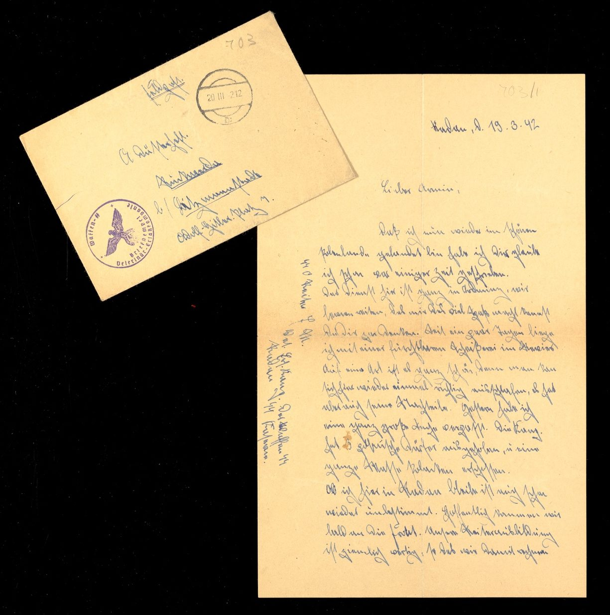 Handwritten letter complete with envelope featuring Nazi insignia
