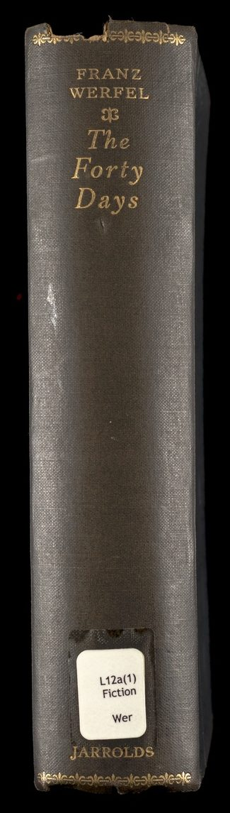 Bookspine Franz Werfel's The Forty Days of Musa Dagh
