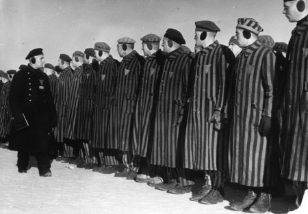 Photograph of line of prisoners