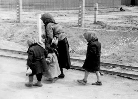 Elderly woman with children, Auschwitz