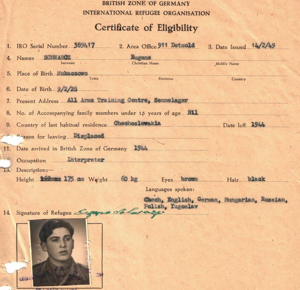 A postwar certificate of eligibility .