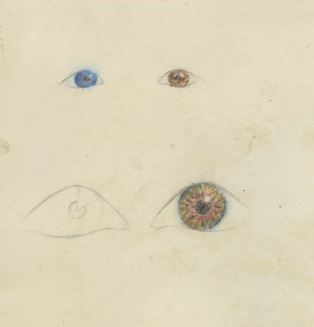 Drawing of eyes in blue, brown and unshaded