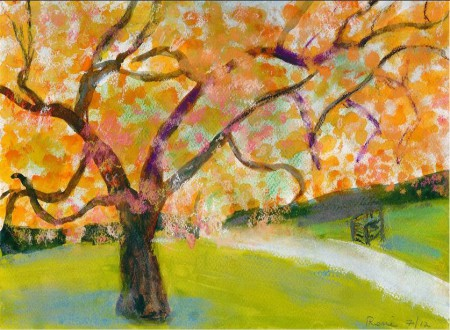 An illustration of a tree with orange and yellow in a park setting