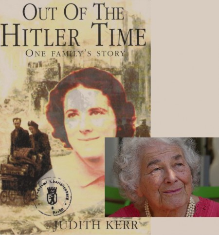 Composite image of Judith Kerr superimposed over the cover of her book 'Out of the Hitler Time: One Family's Story'
