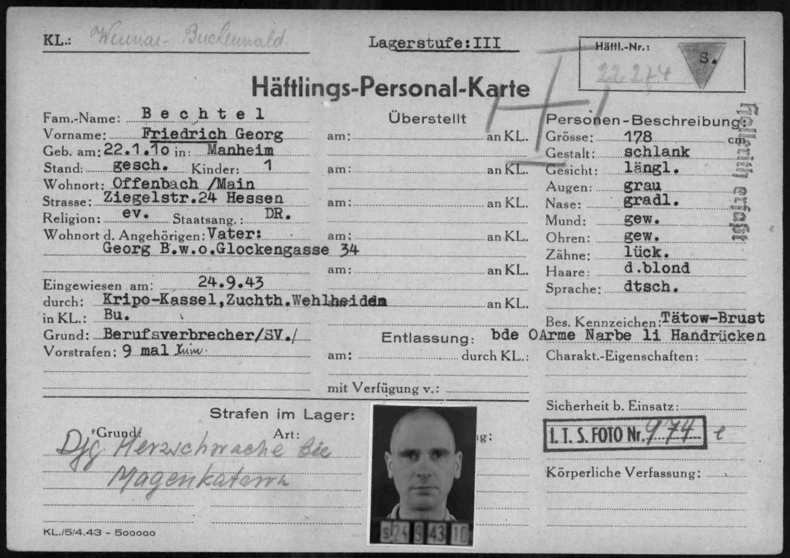 Buchenwald registration card showing an image and brief biographical information about Friedrich Bechtel