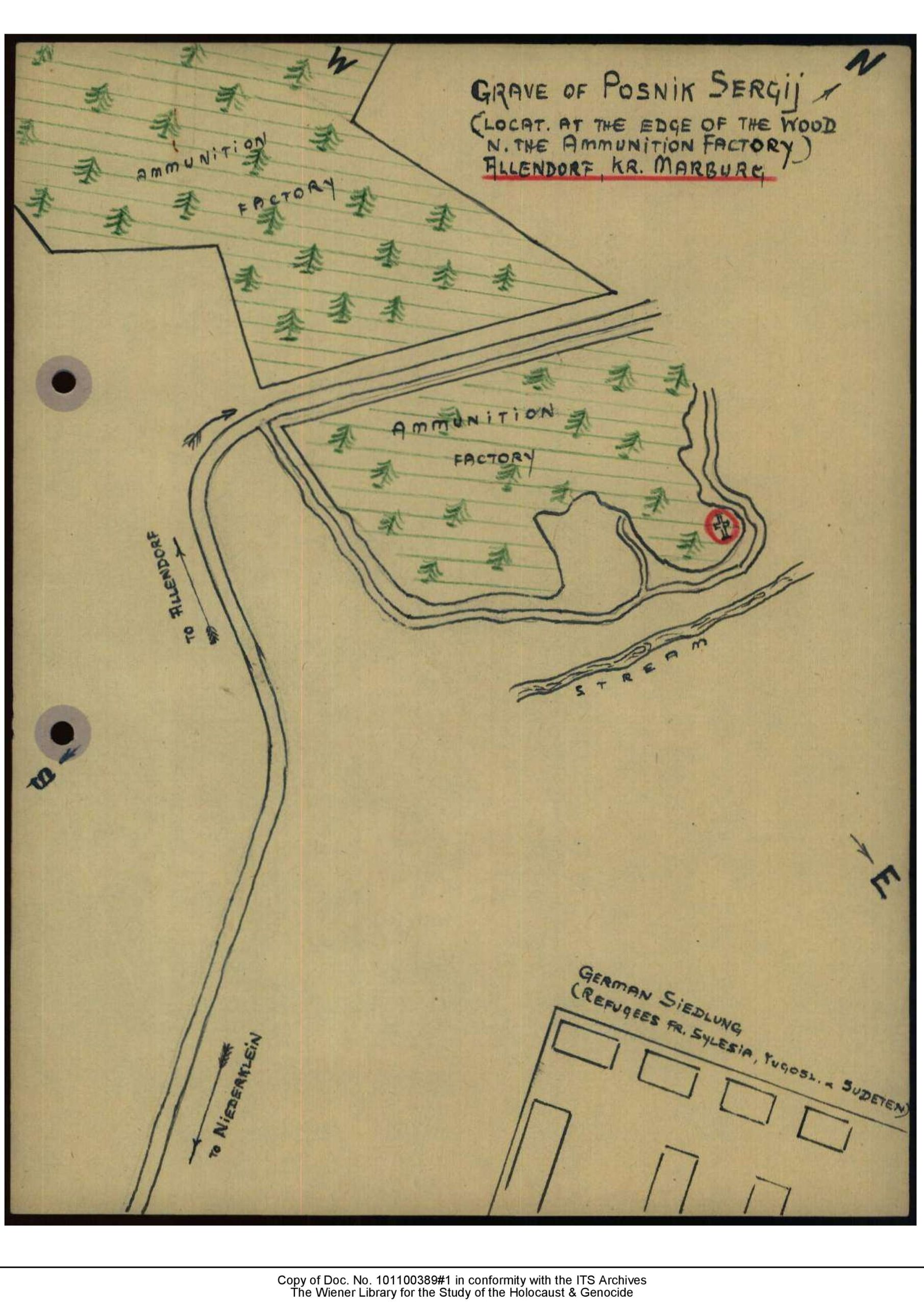 illustration showing the location of a mass grave near Marburg
