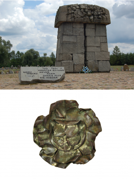 A memorial in a field to Holocaust victims and a rosette brooch from a concentration camp