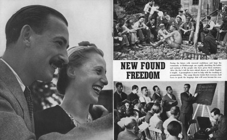 Old photos showing a celebration or groups of people talking or listening and captioned New Found Freedom