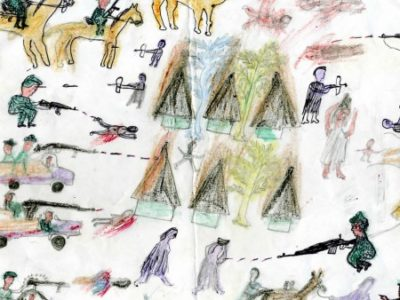 Drawing by Darfuri child shows troops and burning homes