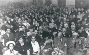 Crowd of people in the Lodz Ghetto