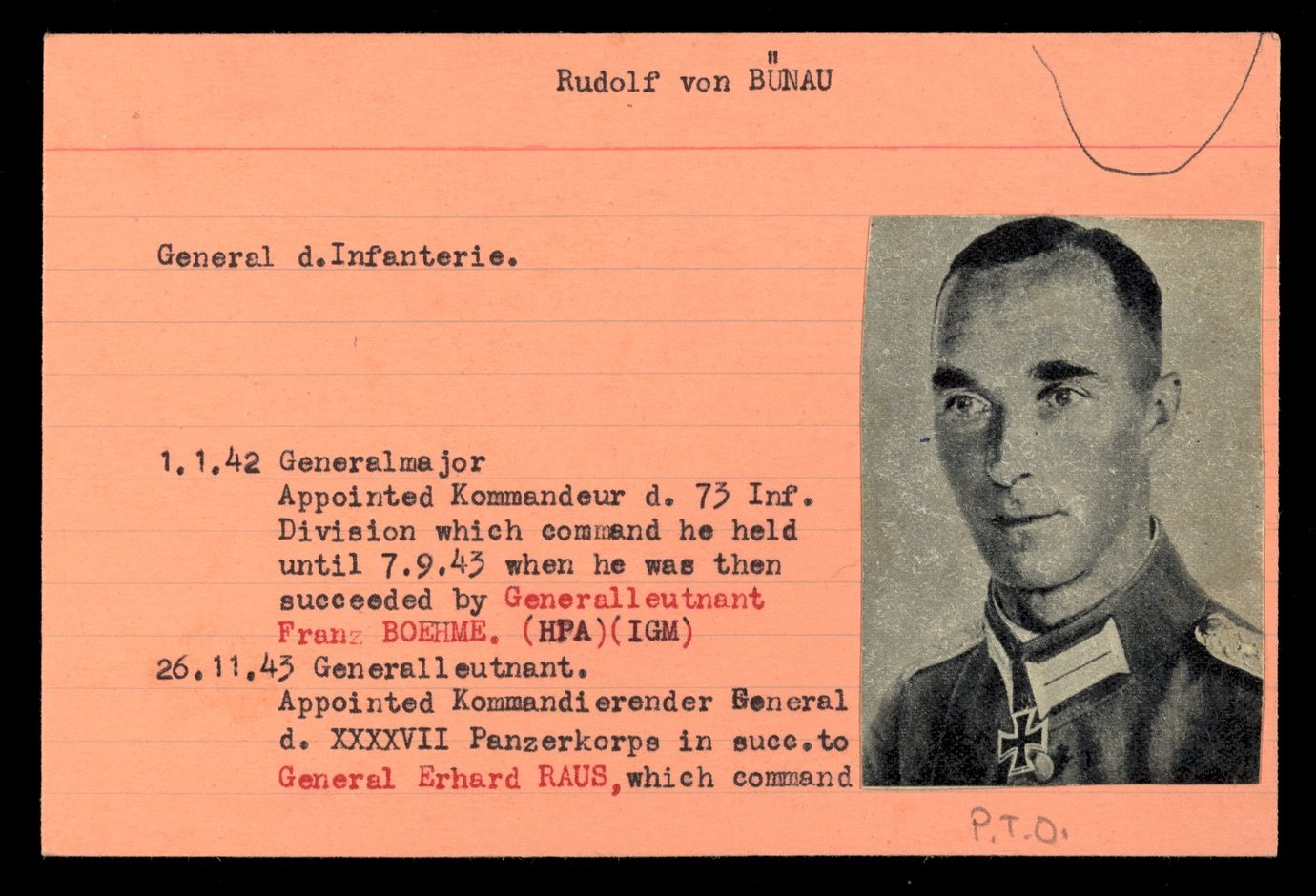 Index card for Rudolf von Bünau complete with passport photograph and biography about his career