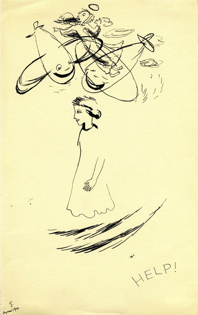 A line drawing of a girl walking and dreams scribbled over head