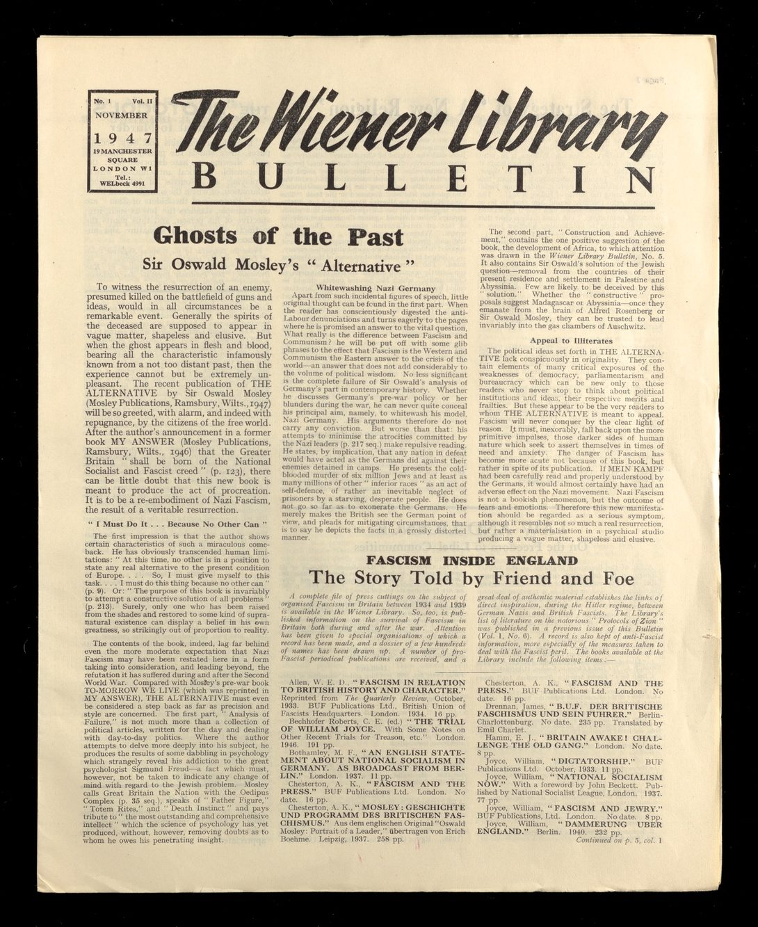 An issue of The Wiener Library Bulletin, published in November 1947.