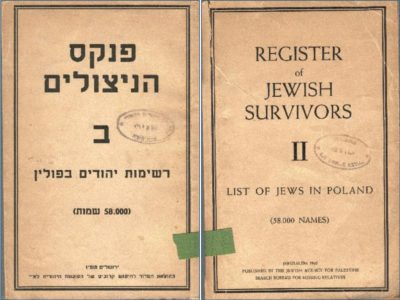 Register of Jewish Survivors book cover - in both English and Hebrew