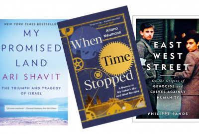 Composite of three book covers: When Time Stopped (Arianna Neumann, 2020) East West Street (Philippe Sands, 2016) My Promised Land (Ari Shavit, 2013)