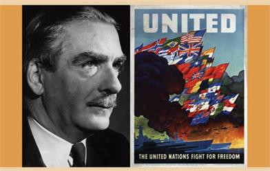 Two posters, one a portrait photograph of a man, the other titled United with world flags