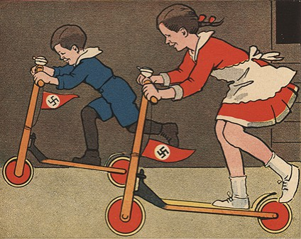 Two cartoon children on scooters