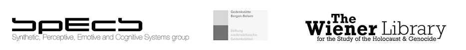 Logos of collaborators of the exhibition - SPECS, Bergen-Belson and Wiener Library.