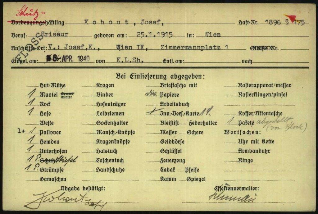 Above: a prisoner record document for Josef Kohout, International Tracing Service Archive, Wiener Holocaust Library Collections, Doc. No. 10911545. '175' is typed in the top right hand corner, indicating the reason that Kohout was incarcerated.
