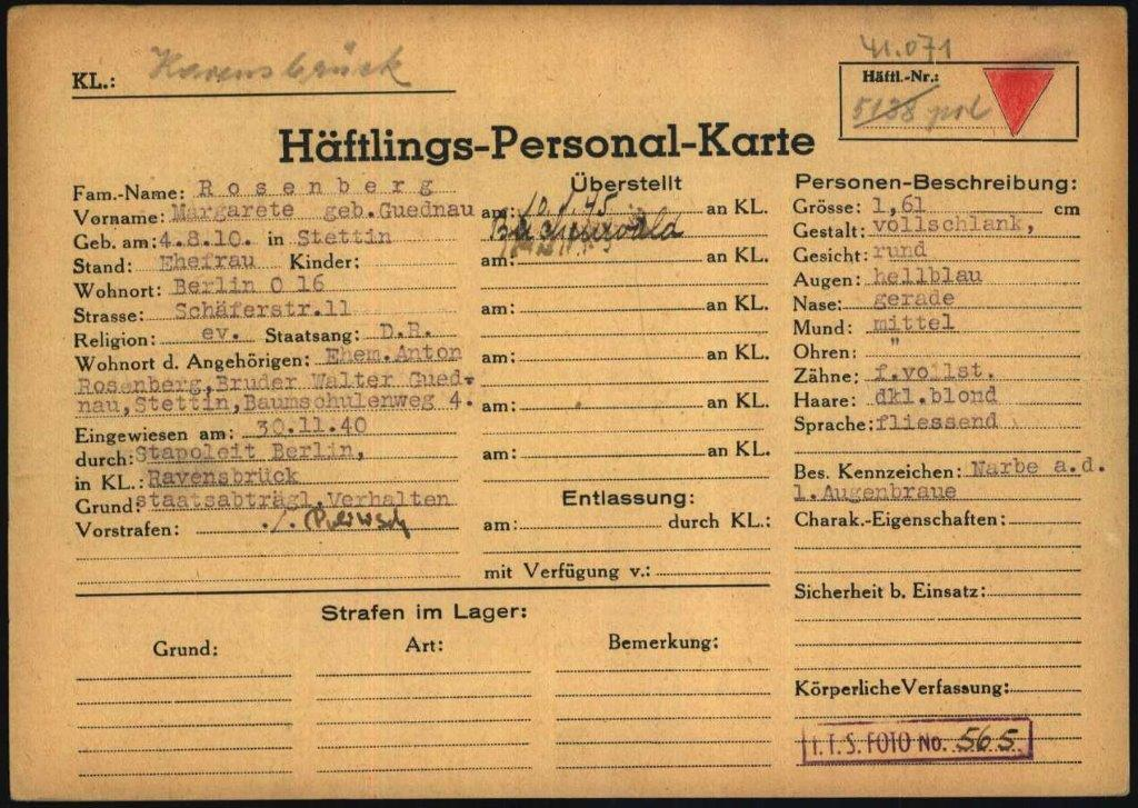 Above: Margarete Rosenberg's prisoner record card from Buchenwald, International Tracing Service Archive, Wiener Holocaust Library Collections, Doc. No. 7695864