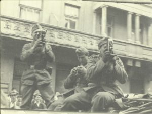 Wehrmacht soldiers film the massacre of Jews in the Lvov Pogroms of July 1941, carried out by the Einsatzgruppe C and the Ukrainian National Militia.