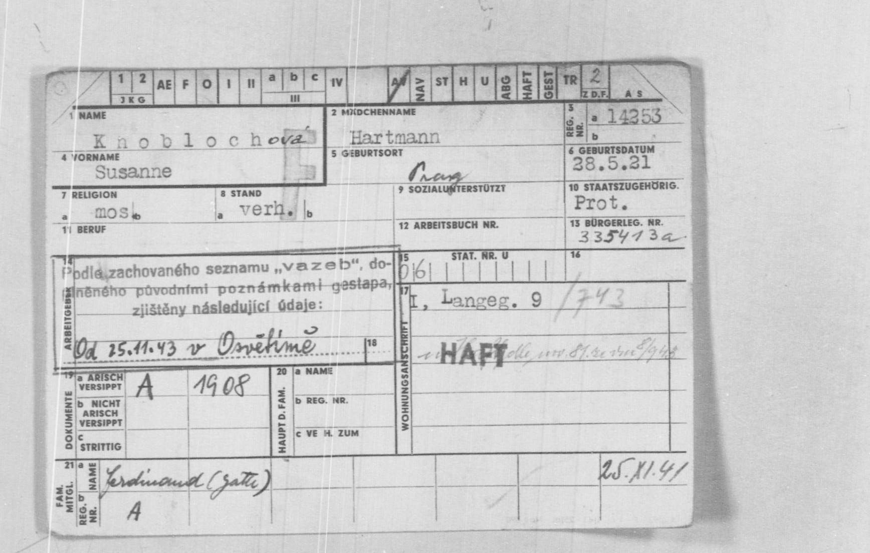 A document with information relating to a prisoner from Auschwitz-Birkenau