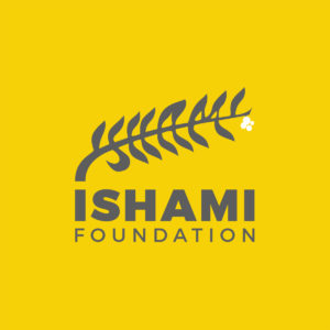 Ishami Foundation logo on yellow background with grey text