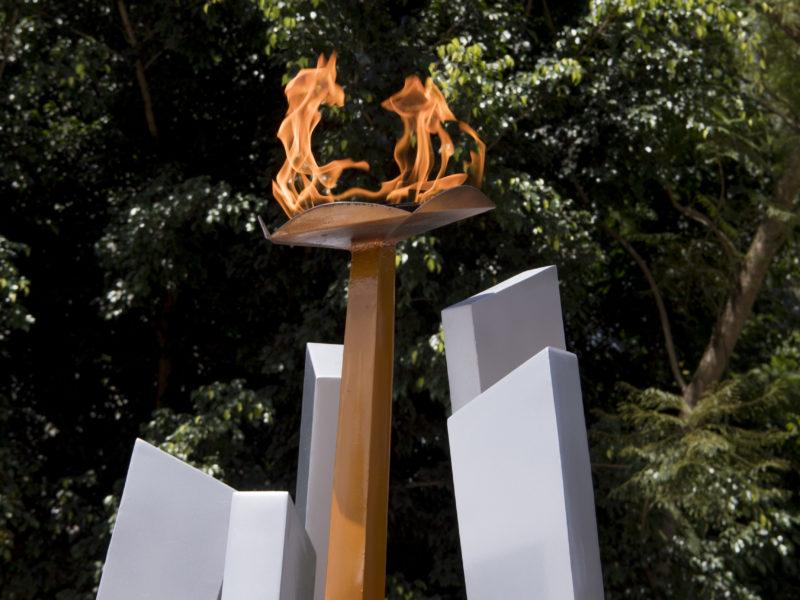 A memorial flame