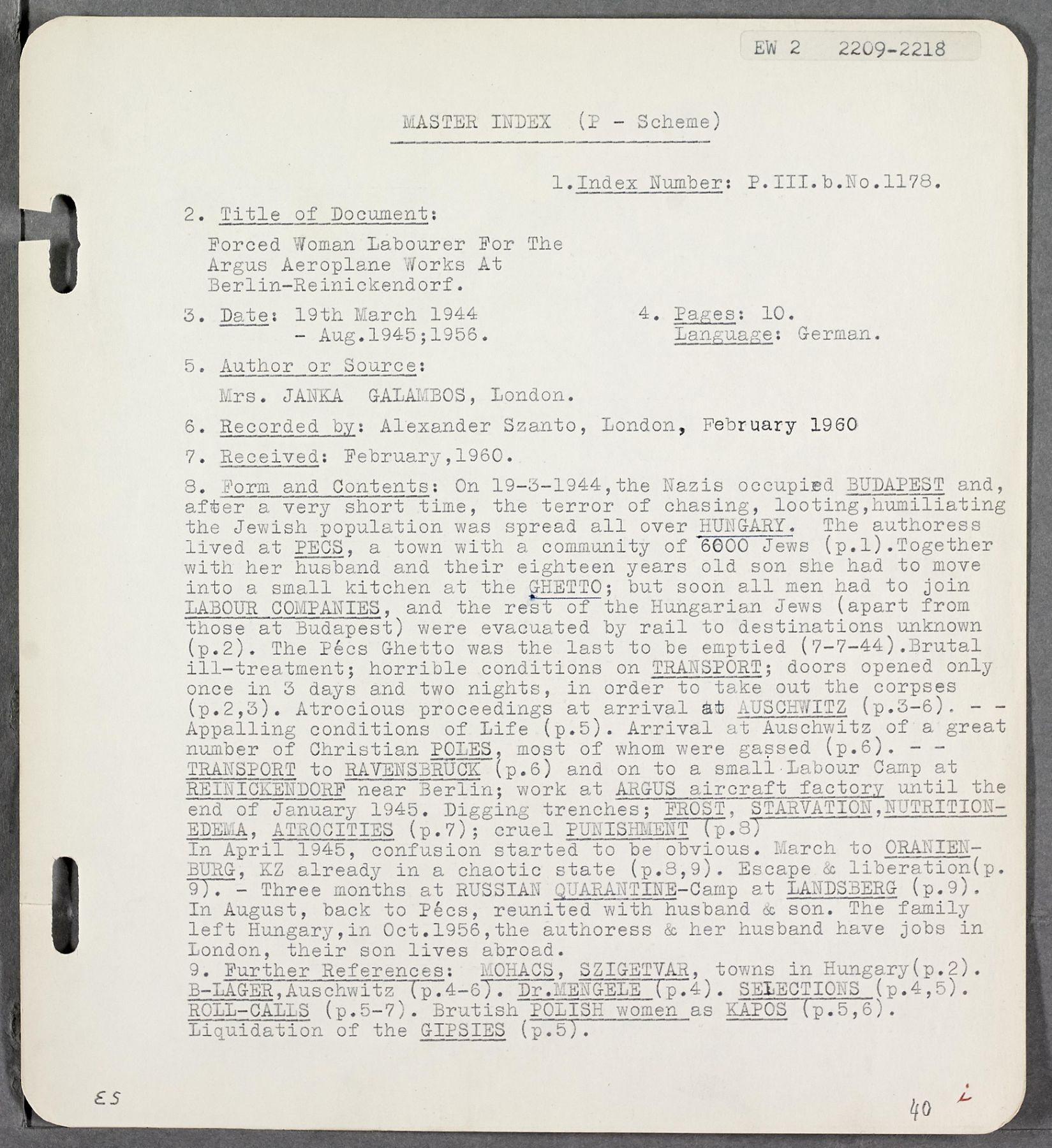Black and white transcript describing an interview with a Holocaust survivor