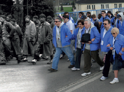 Black and white image of a death march superimposed on an image of the march of the living