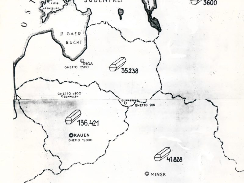This map indicates the number of Jews murdered by the Einsatzgruppen (killing squads which followed the German army) in each country. The map shows modern day Belarus, at the bottom, then continuing clockwise, Lithuania, Latvia, Estonia and Russia. The map was featured as part of the Stahlecker report and was used in the Nuremberg War Crimes Trials.