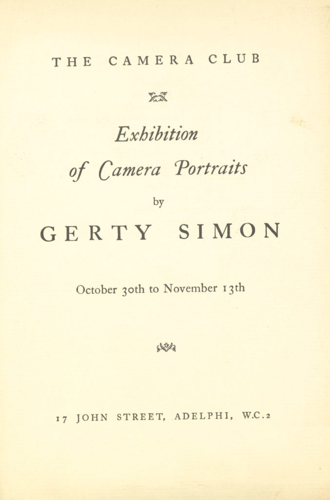 Exhibition leaflet from Gerty Simon's Camera Portraits show in 1935