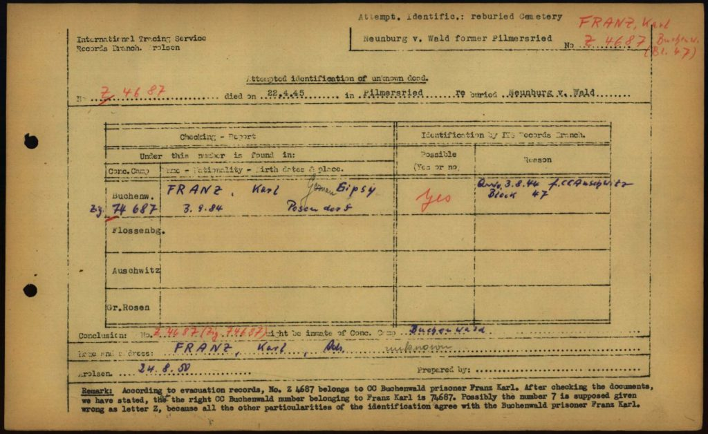 ITS document of attempted identifications at Neunburg vorm Wald, August 1950